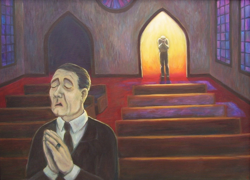 """Parable of the Pharisee and the Tax Collector"" Rebecca Brogan, acrylic on canvas"